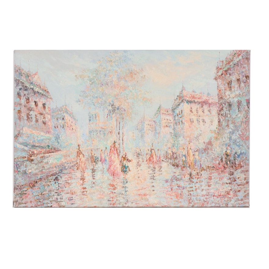 Marie Charlot French Cityscape Oil Painting, Mid to Late 20th Century