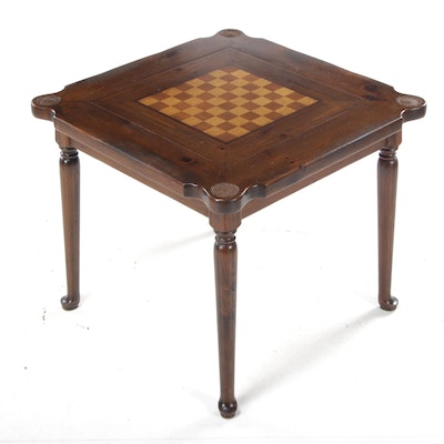 """Old Tavern"" Pine and Inlaid Top Queen Anne Style Games Table"
