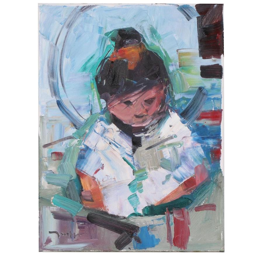 "Jose Trujillo Oil Painting ""Little Prayer"", 2020"