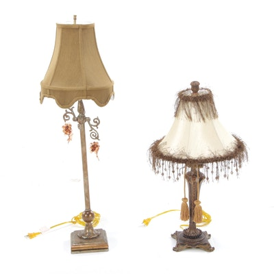 Contemporary Table Lamps with Fringed and Beaded Embellishment