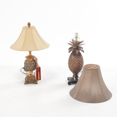 Figural Pineapple and Artichoke Table Lamps