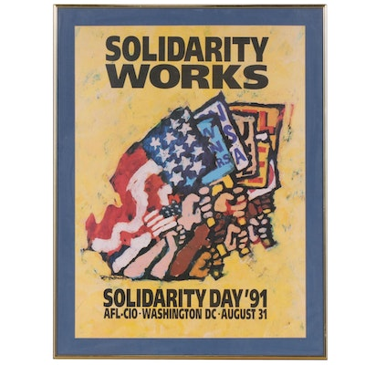 AFL-CIO Solidarity Day 1991 Offset Lithograph Poster after Jerry W. McDaniel