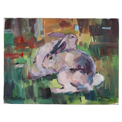 "Jose Trujillo Oil Painting ""The Bunnies"", 2020"