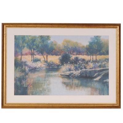 Lise W. Shearer Pastel Riverbank Landscape