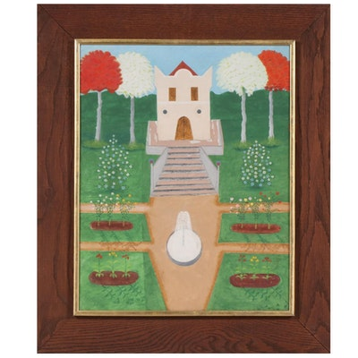 Naiïve Style Acrylic Painting of Garden Scene, Late 20th Century