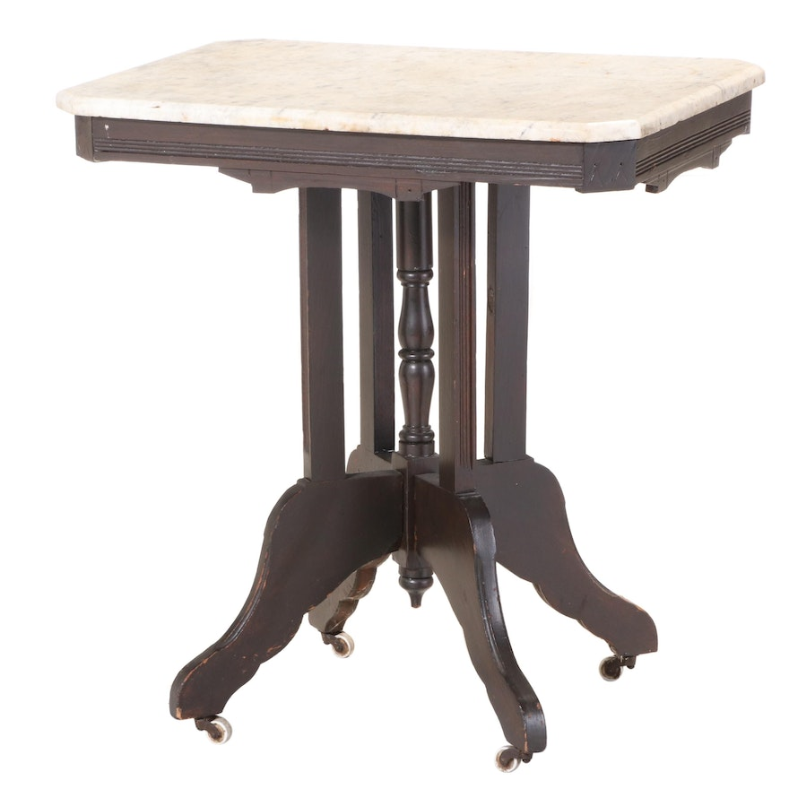Victorian Marble Top Side Table, Late 19th Century
