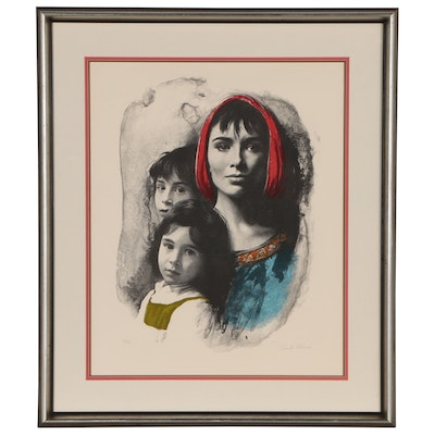 "Sandu Liberman Lithograph ""Woman and Two Children"""