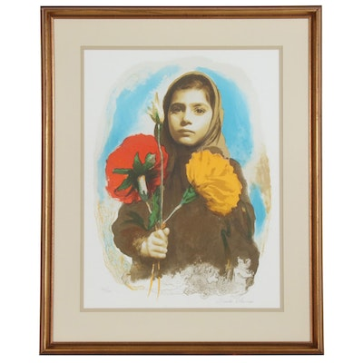 Sandu Liberman Lithograph of Girl with Flowers