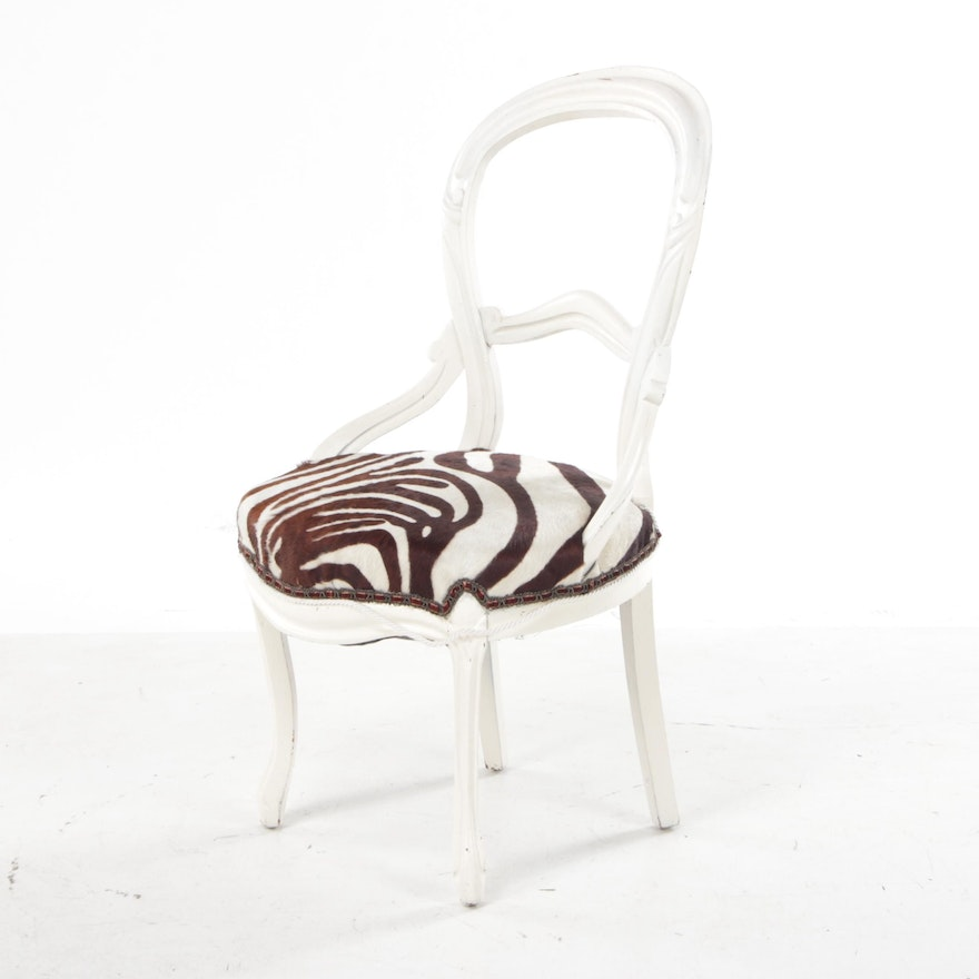 White-Painted Victorian Side Chair with Zebra Patterned Seat