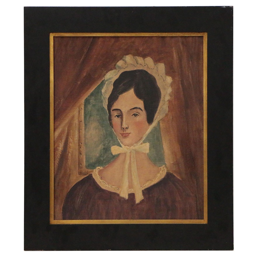 Folk Style Gouache Painting of Woman in Bonnet, Late 19th Century