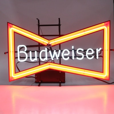 Budweiser Beer Illuminated Neon Advertising Sign, Late 20th Century