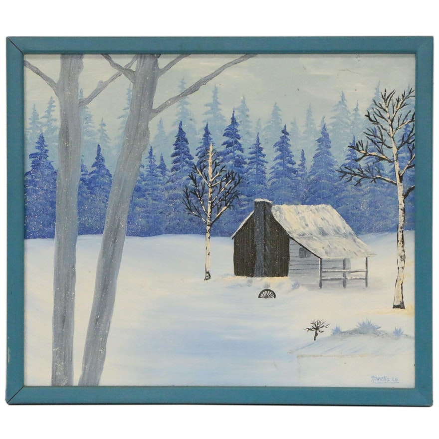 Winter Landscape Oil Painting with Cottage, 1925