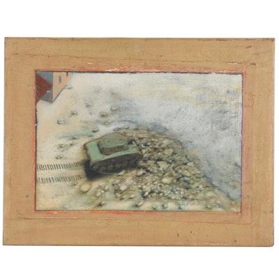 Blair Gibeau Mixed Media Painting of Tank, 1997