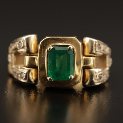 18K Emerald and Diamond Chain Link Style Ring