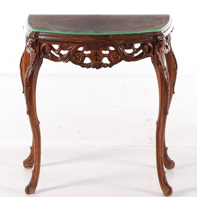 Glass Top Carved Walnut Demilune Table