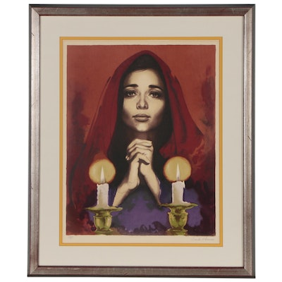 Sandu Liberman Lithograph of Woman with Candles