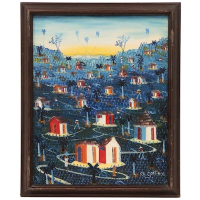 Haitian Folk Style Oil Painting of Dusk Landscape