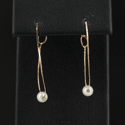 14K Pearl Cobra Chain Hoop Earrings