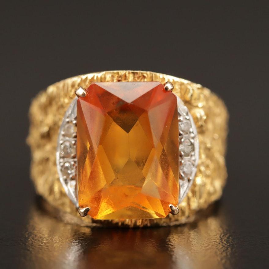 14K Orange Sapphire and Diamond Ring