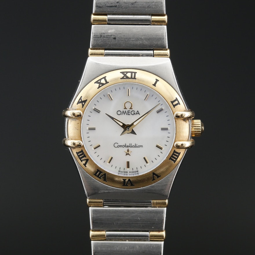 "Omega ""Constellation"" Stainless Steel and 18K Quartz Wristwatch"