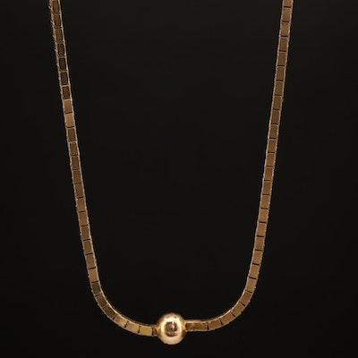 14K Box Chain Station Necklace