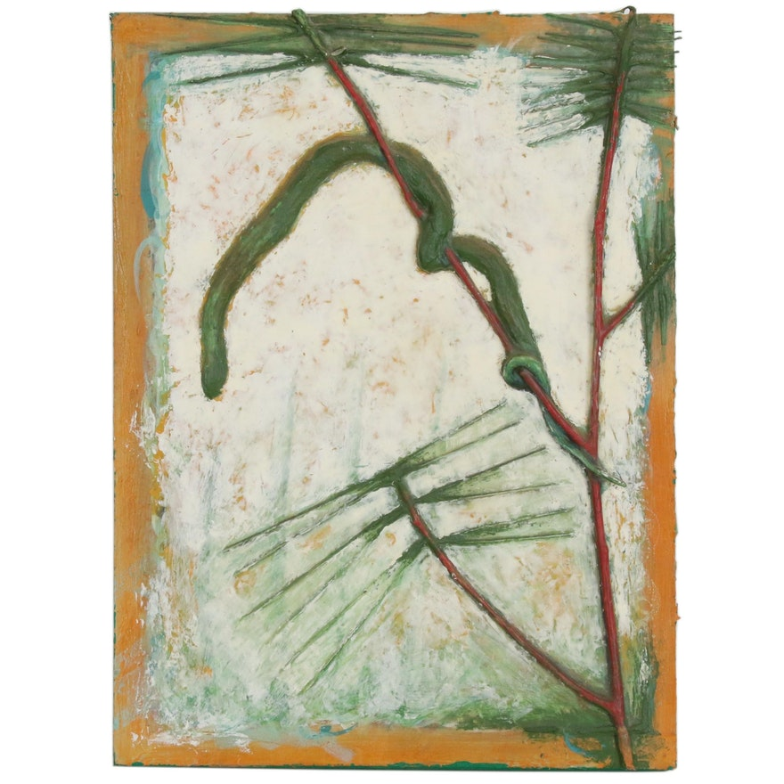 Blair Gibeau Abstract Mixed Media Painting of Snake in Garden