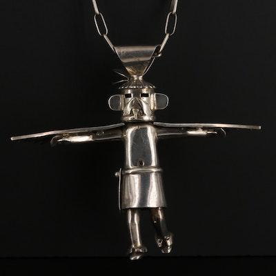 Vintage Hopi Style Sterling Silver Kachina Dancer Pendant Necklace