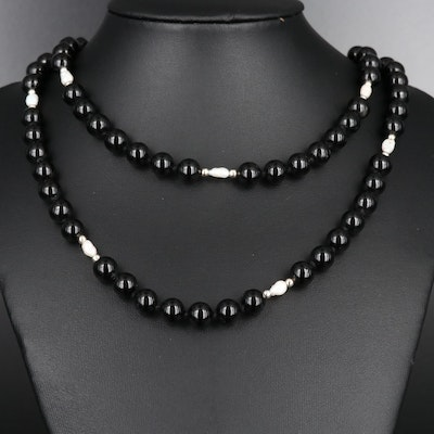 Endless Opera Length Beaded Necklace with Pearl Accents