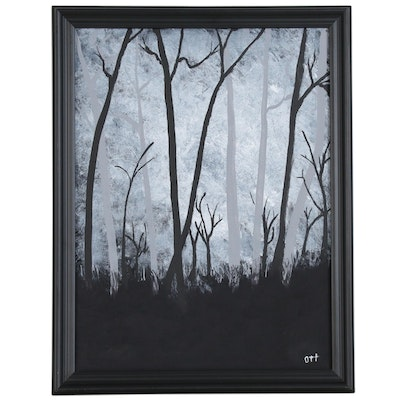 Abstract Landscape Acrylic Painting of Forest