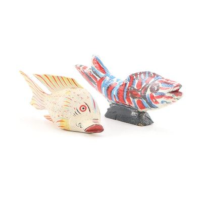 Vintage Hand Painted Wooden Fish Decor