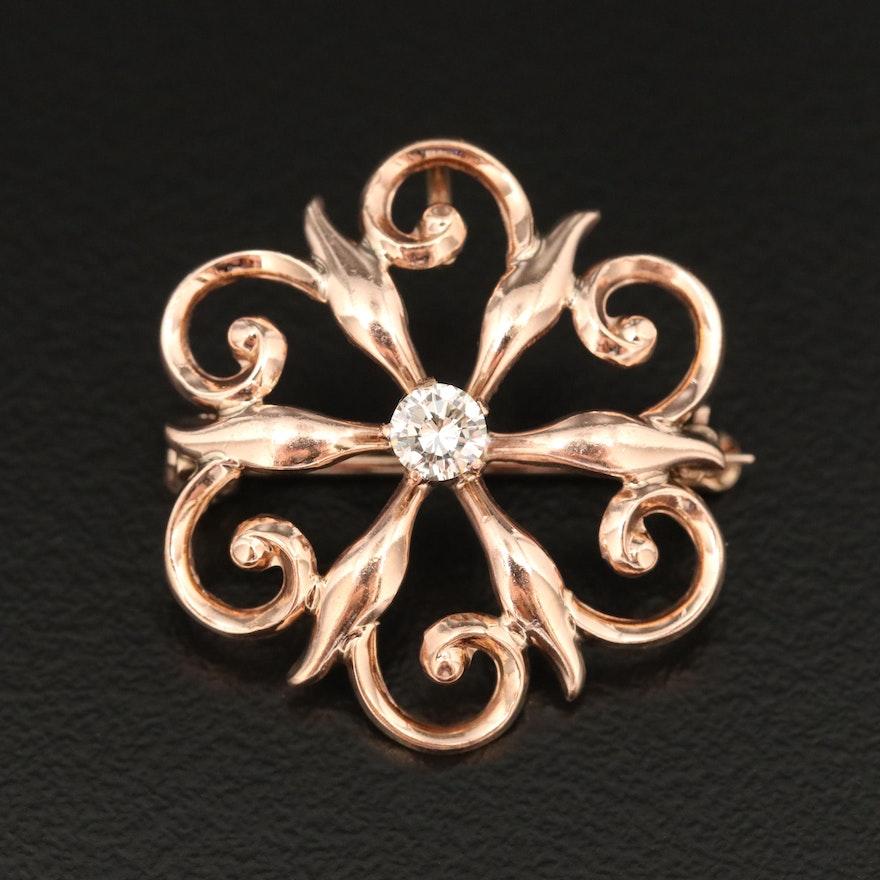 Art Nouveau 10K Diamond Openwork Converter Brooch