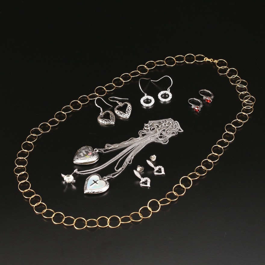 Sterling Jewelry Selection With Diamond, Cubic Zirconia, and Garnet Accents