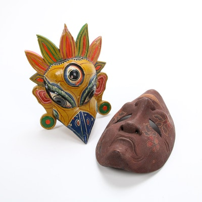 Garuda and Grecian Style Hand-Crafted Wooden Masks