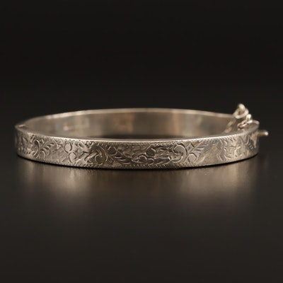 Sterling Etched Bangle Bracelet with Hinge
