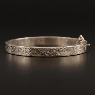 Sterling Etched Bangle Bracelet with Hinge