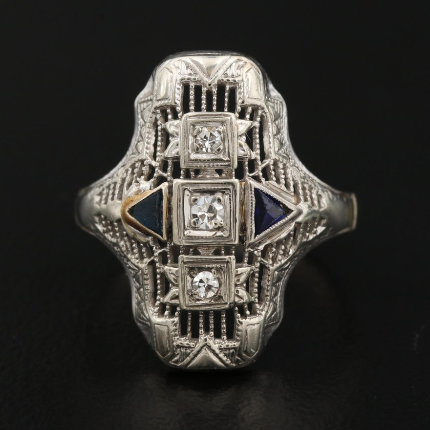 14K Diamond and Sapphire Filigree Ring