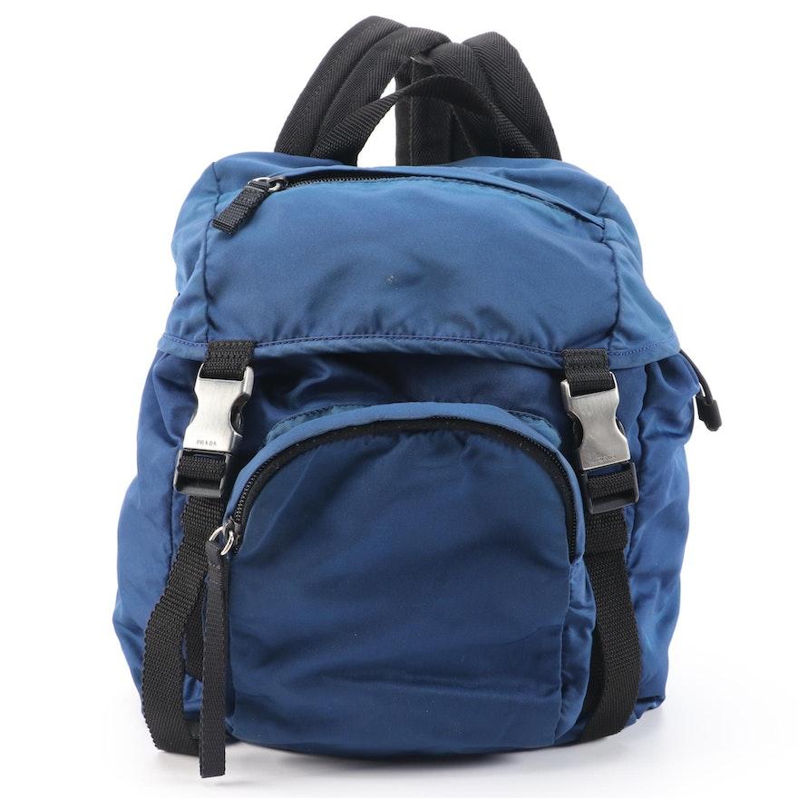 Prada Blue and Black Nylon and Canvas ID Backpack