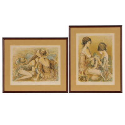 Jacques Lalande Figural Lithographs of Young Women