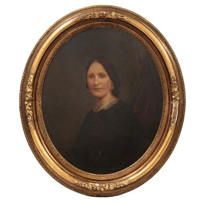 Portrait Oil Painting Attributed to Marcus Mote, 19th Century