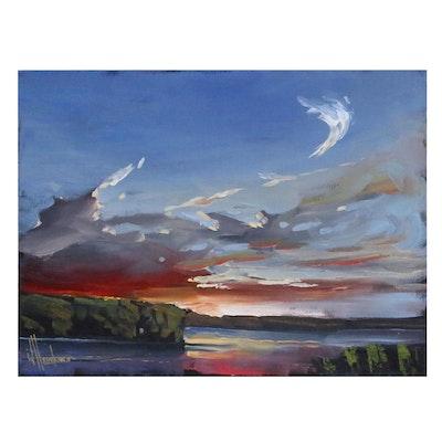 William Hawkins Riverside Landscape Oil Painting, 21st Century