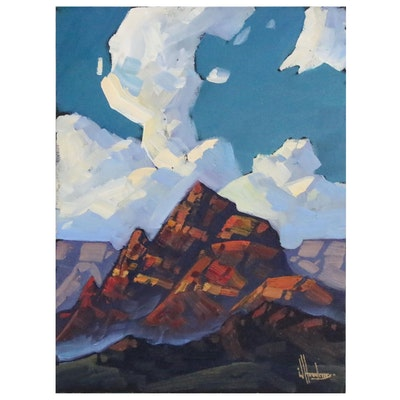 William Hawkins Landscape Oil Painting of Mountains, 2020