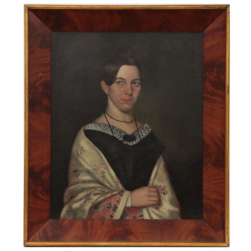 Portrait Oil Painting of Woman in Shawl, Mid 19th Century
