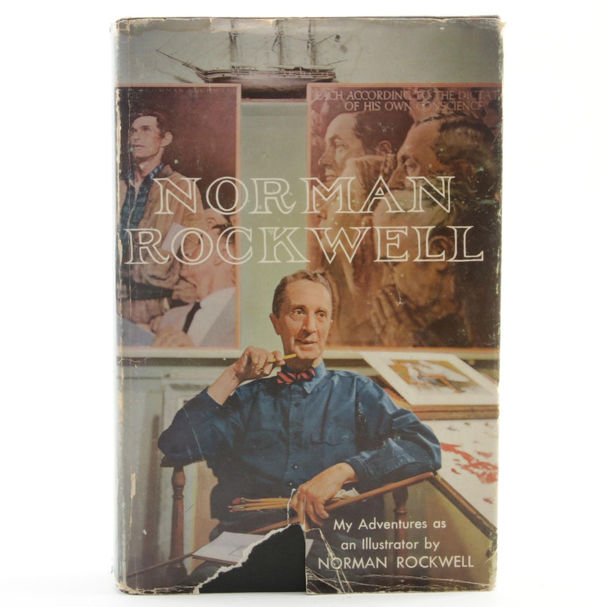 """Signed First Edition """"My Adventures as an Illustrator"""" by Norman Rockwell, 1960"""