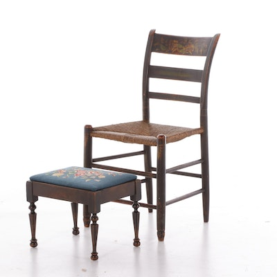 Paint-Decorated Rush Seat Side Chair and Needlepoint Upholstered Stool