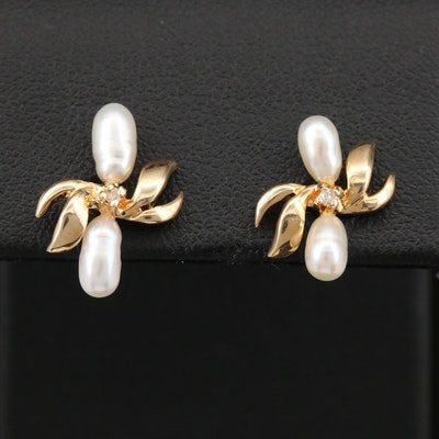 14K Pearl and Diamond Foliate Earrings