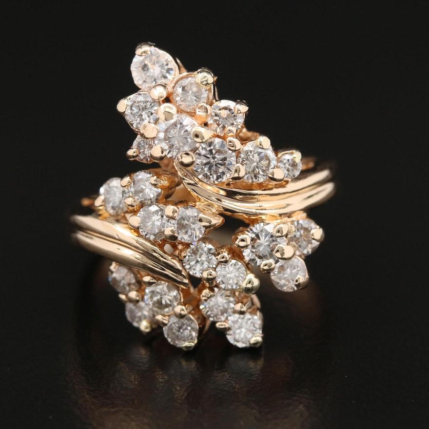 14K 2.00 CTW Diamond Cluster Bypass Ring