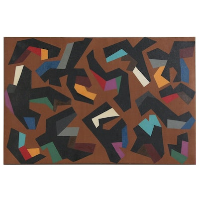 "Achillo ""Achi"" Sullo Abstract Acrylic Painting ""Primeval Fragments"", 1960"