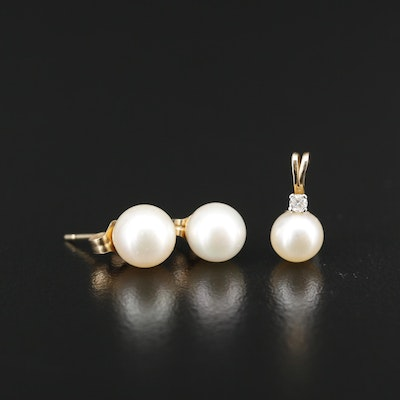 14K Pearl Stud Earrings and Pendant with a Sapphire Accent