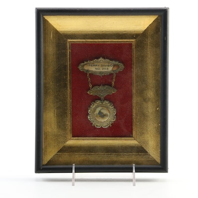 Perry Division No. 203 Order of Conductors Member Badge, Framed