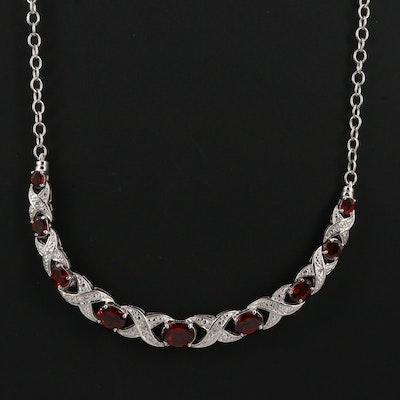 Sterling Garnet and Diamond Necklace